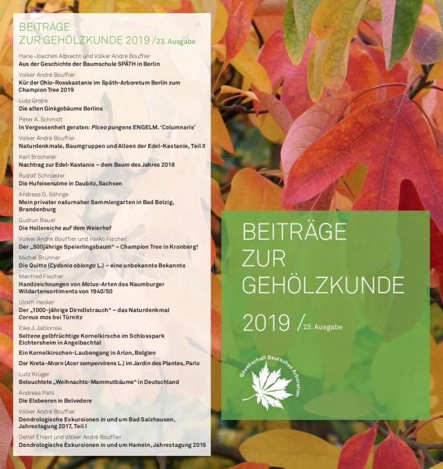 Titel und Inhaltsverzeichnis BzG 2019